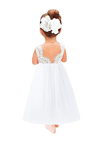 Toddler Baby Flower Girls Dress Princess Tulle Party Dresses Lace Backless Tutu A-line Beaded Skirt White