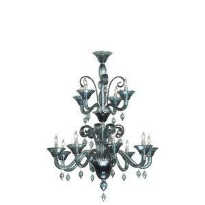 Cyan Lighting 6495-12-14 Treviso - Twelve Light 2-Tier Chandelier, Chrome Finish with Indigo Smoke Glass with Indigo Smoke Murano Crystal