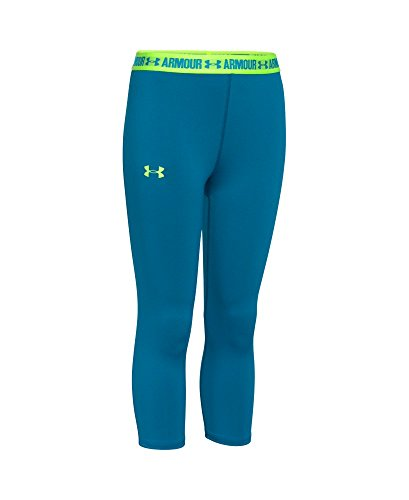 Under Armour Girls' HeatGear Armour Solid Capri, Teal Blast (932), Youth - Blast Youth
