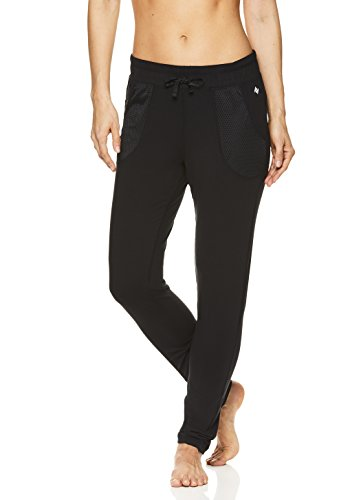 Nicole Miller Active Women's Mesh Track Pants - Activewear Workout & Running Joggers - Laser Black, Medium