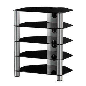 RX2150 Ng Mueble HiFi 5 estantes Vidrio Negro Chasis de Aluminio