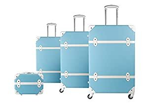 Set Of Trolley Bags by Morano -3 Pcs With Beauty Case, Light Blue, 6688