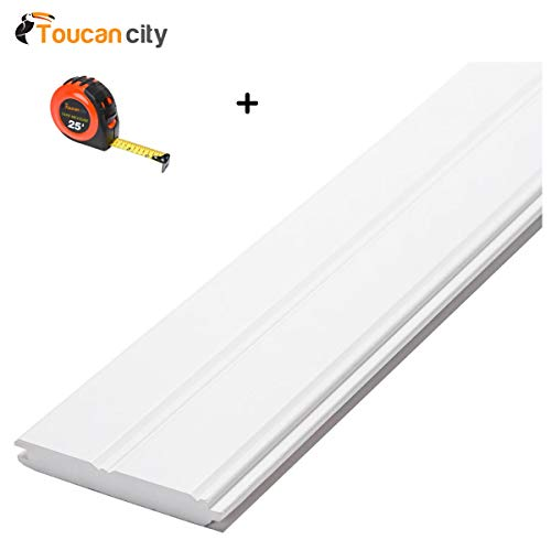 Toucan City Tape measure and CMPC 1 in. x 6 in. x 8 ft. Radiata Pine Primed Finger-Joint Edge and Center Bead Panel 28789