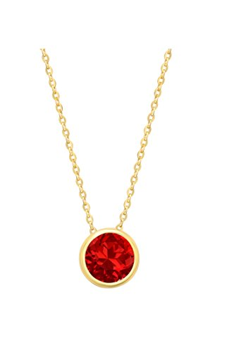 14k Yellow Gold 7mm Round Created Ruby Bezel Gemstone Pendant Necklace, (Gemstone Ruby Necklace)