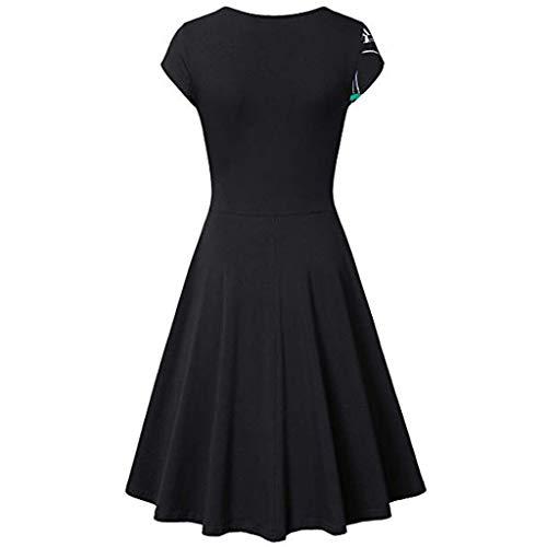 (Landfox Girls Christmas Dress,Dress for Women, Cross V- Neck Dresses,Women's Short Sleeve Vintage Elegant Flared A-Line Dress)