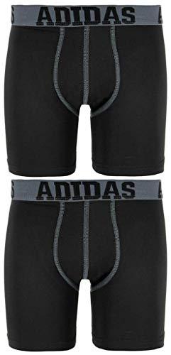adidas Boys / Youth  Sport Performance Climalite Boxer Brief Underwear (2-Pack), Black/Thunder/Black/Thunder, Small/6-8