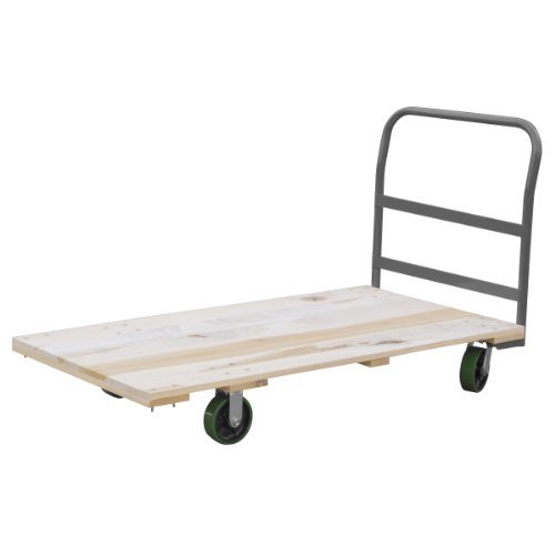 Akro-Mils RPT30605K5G6GY 30-Inch  by 60-Inch  Industrial Grade Hard Wood Platform Truck with Crossbar Handle and 6-Inch  Polyurethane Casters- 2400-Pound capacity by Akro-Mils