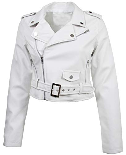 Women's Juniors Fashionable Cropped Faux Leather Moto Biker Jacket in White Size M