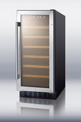 Summit SWC1535B 33 Bottles Capacity Wine Cellar Digital Display LED Lighting Wooden Shelves Automatic Defrost 100% CFC Free Reversible