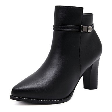 Boots Shoes Zipper Casual For Chunky Pointed CN34 Boots UK3 Toe Leatherette Women'S Boots Booties Bootie Winter Fashion EU35 Ankle Heel RTRY Combat Boots US5 TSwXq5