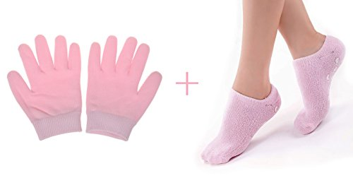 Cracked Dry Skin Care Cream Oil Moisture Moisturizing Gel Spa Socks and Gloves for Smooth Soft Hands (Gloves+Socks) by UTRAX