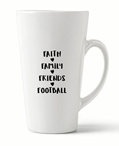 Style In Print ''Faith Fmily Friends Football'' Funny Coffee Tea Ceramic Latte Mug 17 Oz by Style in Print