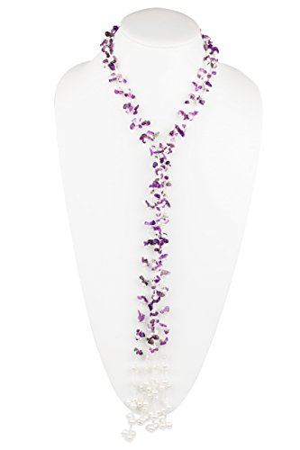 HinsonGayle 'Chloe' Handwoven 2-Strand Amethyst & Genuine Freshwater Cultured Pearl Lariat Necklace-42 in length (Lariat Cultured Freshwater Necklace Pearl)