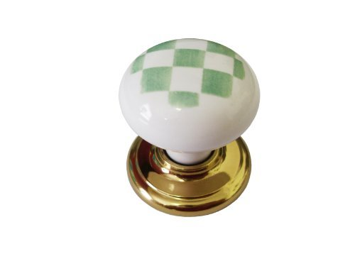 1 x Green & white gingham check 35mm knob ceramic porcelain cupboard Swish by Swish