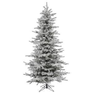 Vickerman Flocked Slim Sierra Flocked White on Green Christmas Tree, 7.5-Feet