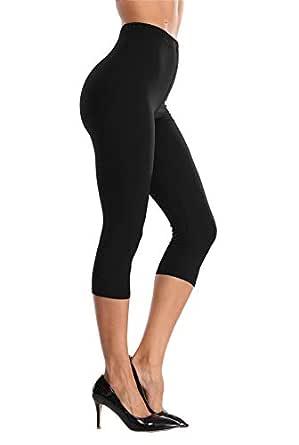 VOGUEMAX Women's Capri Leggings High Waist Soft and Comfy Cropped Leggings Tights 3/4 Length Leggings - Black - one Size(Size 0-12)