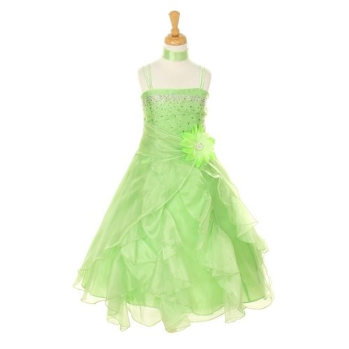 Cinderella Couture Big Girls' Cascading Organza Dress Lime 14 (1101)