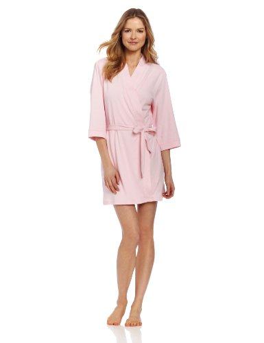 Seven Apparel 00133 Hotel Spa Collection Kimono Knit Cotton Robe, Light Pink