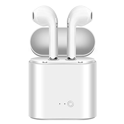 AQwzh 5.0 Earbuds Earphones Stereo Sports Headphons Earbuds Noise Cancelling and Waterproof Headsets with Built-in Mic Portable Charging Case-White (White)