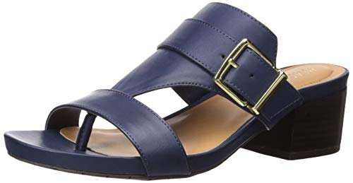 Kenneth Cole Slip Sandals - Kenneth Cole REACTION Women's Late Buckle Block Heeled Sandal Navy, 8 M US