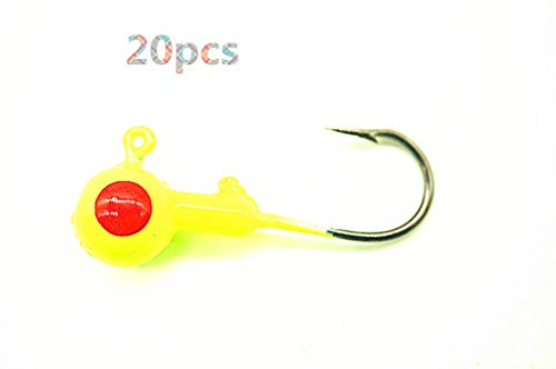 Toasis Fishing Round Jig Heads Ice fishing Lure Bait Hooks Assorted Sizes Pack of 20 (Yellow, 1/2-Ounce)