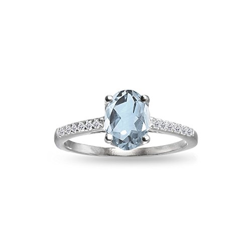 GemStar USA Sterling Silver Blue and White Topaz Oval Crown Ring