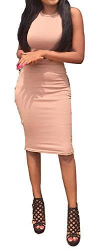 Les Femmes Blansdi Sans Manches Col Rond Dos Ouvert Robe Bandage Moulante Crayon Clubwear Rose