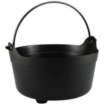 Black Plastic Cauldron Buckets with Handles, 7 X 12