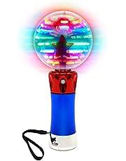 Jxfrice Spinning Light Up Wand voor kinderen in geschenkdoos, Roterende LED Toy Wand voor jongens en meisjes, magische prinses zintuiglijke speelgoed voor autistische kinderen, beste verjaardagscadeau voor kinderen 3, 4, 5, 6, 7