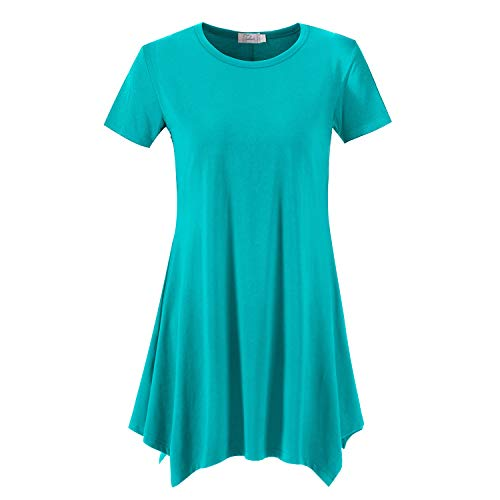 Topdress Women's Loose Fit Swing Shirt Casual Tunic Top for Leggings Teal S