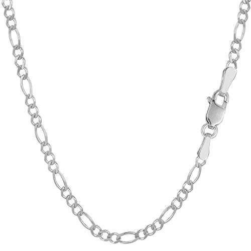 14K Yellow Or White Gold 2.6mm Diamond-Cut Alternate Classic Figaro Chain Necklace Or Bracelet/Foot Anklet for Pendants and Charms with Lobster-Claw Clasp (7