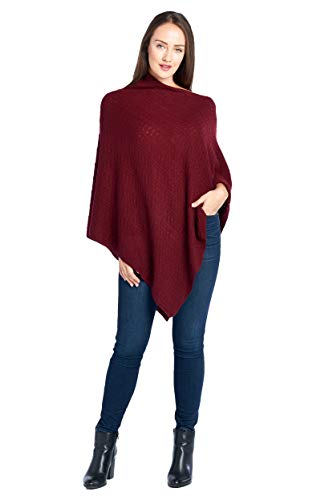Mariyaab Women's 100% Cashmere Soft Knitted Travel Wrap Poncho Sweater(PS18L, Burgundy, L/XL)