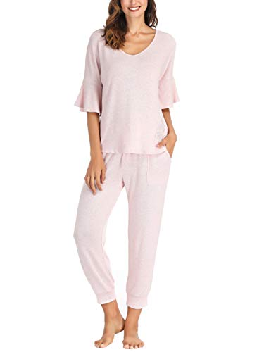 Ink+Ivy Women Pajama Set Oversized Tee and Cuffed Jogger Pants Pocket Dusty Blush Pink Medium ()