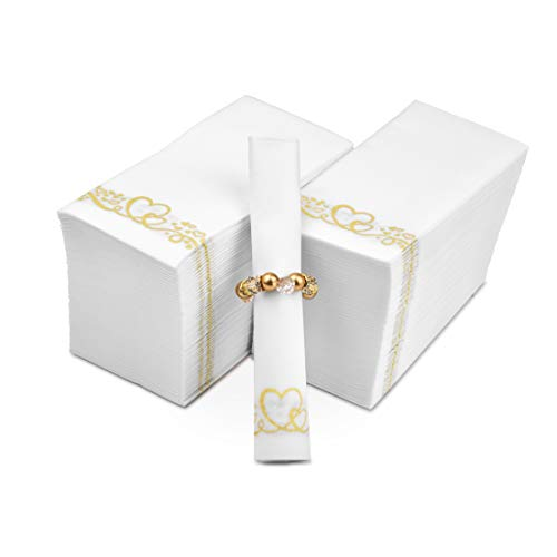 Fete Decorative Hand Towels – Gold Heart Disposable Linen-Feel Guest Towels 200 pack – Formal Dinner, proposal, Wedding…