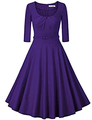 MUXXN Women's 1950s Vintage Scoop Neck 3/4 Sleeve Pleated Swing Cocktail Dress