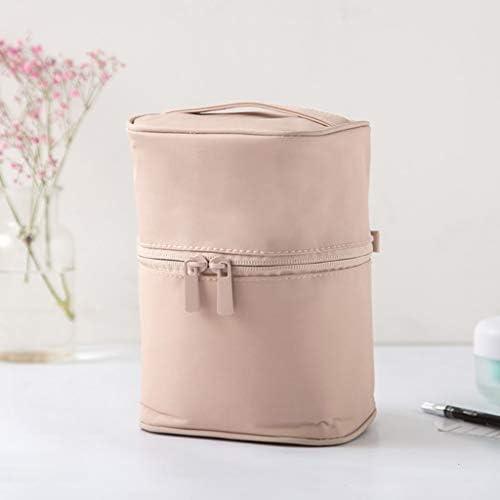 化粧品収納ボックス 家庭用化粧品収納ボックス大容量洗浄バッグ化粧品バッグ付きポータブル分類可能カバー付きナイロンピンクブルーグリーンブラックグレー JSSFQK (Color : Pink)