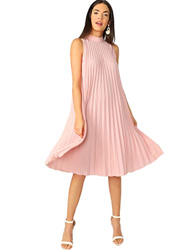 Floerns Women's Sleeveless Mock Neck Tie Back Pleated Tunic Dress Pink-1 L