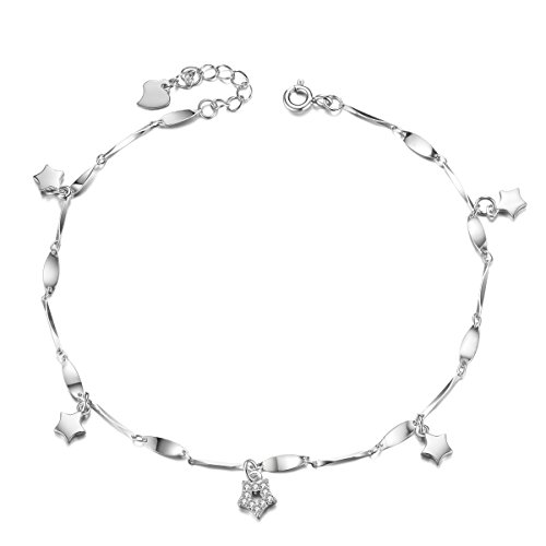 - SHEGRACE Twinkle Star Dangle Anklet Bracelet for Women 925 Silver Anklet Bracelet