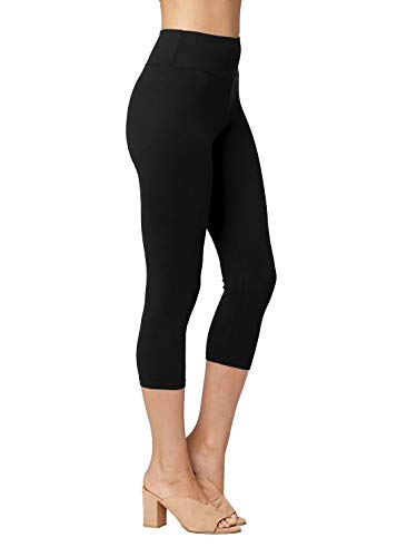 (Conceited Super Soft High Waisted Leggings for Women - Capri Midnight Black - Small/Medium (0-10))