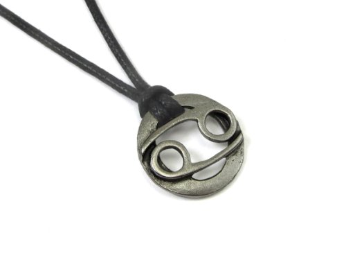 (Cancer the Crab, Zodiac Pewter Pendant on Adjustable Cord Necklace)