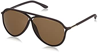 Tom Ford - Gafas de sol Aviador FT0206, Semi-Shiny Dark Brown with Rose Gold / Gradient Brown