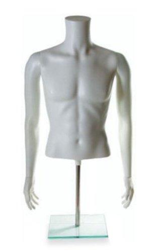 Economy Male Torso Countertop Form Fashion Clothing Display White Full Round NEW