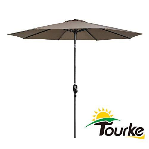 Tourke 9 Ft Patio Umbrella Outdoor Table Umbrella Crank, 8 Rids, Push Button Tilt, for Garden, Deck, Backyard, Swimming Pool and More (Taupe)