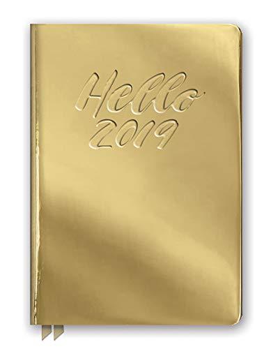 Orange Circle Studio 2019 Medium Leatheresque Weekly Agenda, August 2018 - December 2019, Hello Metallic Gold