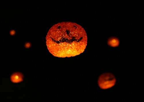 Halloween Solar String Lights - Glowing Orange Jack O' Lanterns - Set of Twelve (12) - 12 O-lantern Jack
