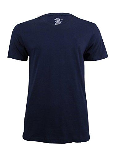 Alfani Men's Combed Cotton V-Neck T-Shirt (Navy, Medium) from Alfani