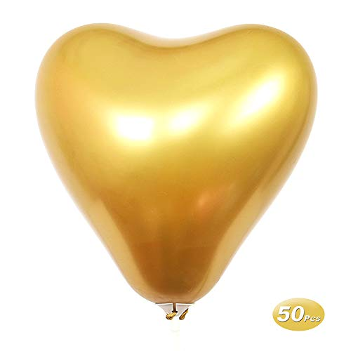 50 Pcs Heart Shaped Latex Balloons, 12 Inch Metal Color Latex Balloons for Wedding Birthday Party Decoration, Gold