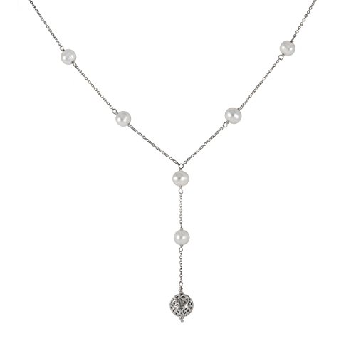 Tin Cup Station Sterling Silver Chain 6-7mm White and Grey Freshwater Cultured Pearl Princess Y Necklace 18