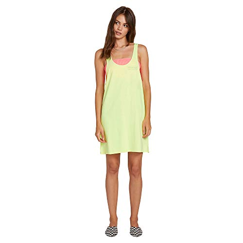 Volcom Junior's Women's Neon and On Pigment Dyed Loose Fit Tank Dress, Yellow, Extra Small