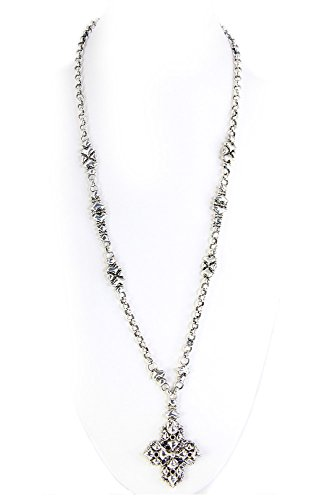 Liquid Metal by Sergio Gutierrez Antique Silver Necklace CH3-AS SG SG pouch & cleaning cloth included - Liquid Cross